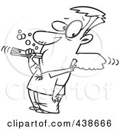 Royalty Free RF Clip Art Illustration Of A Cartoon Black And White Outline Design Of A Man Over Aggressively Brushing His Teeth