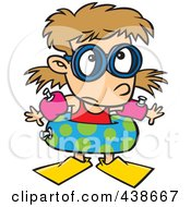 Royalty Free RF Clip Art Illustration Of A Cartoon Summer Girl Over Prepared For Swimming