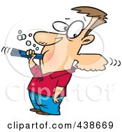 Royalty Free RF Clip Art Illustration Of A Cartoon Man Over Aggressively Brushing His Teeth by toonaday