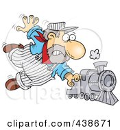 Royalty Free RF Clip Art Illustration Of A Cartoon Locomotive Engineer Holding Onto A Fast Steam Train by toonaday