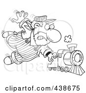 Royalty Free RF Clip Art Illustration Of A Cartoon Black And White Outline Design Of A Locomotive Engineer Holding Onto A Fast Steam Train