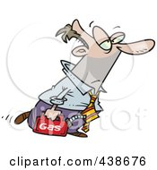 Royalty Free RF Clip Art Illustration Of A Cartoon Businessman Out Of Gas