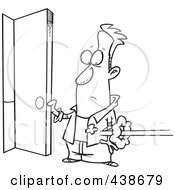 Royalty Free RF Clip Art Illustration Of A Cartoon Black And White Outline Design Of A Man Holding Open A Door As Someone Shoots In by toonaday
