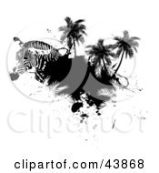 Clipart Illustration Of A Zebra Head With Palm Trees And Black Grunge by Arena Creative
