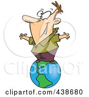 Royalty Free RF Clip Art Illustration Of A Cartoon Businessman Standing On Top Of The World