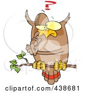 Royalty Free RF Clip Art Illustration Of A Cartoon Pondering Owl Perched On A Branch by toonaday