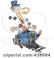 Royalty Free RF Clip Art Illustration Of A Cartoon Train Engineer Riding A Small Locomotive by Ron Leishman