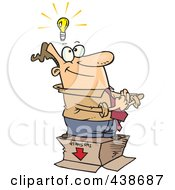 Royalty Free RF Clip Art Illustration Of A Cartoon Businessman Standing With An Idea Outside The Box by toonaday