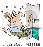 Royalty Free RF Clip Art Illustration Of A Cartoon Hand Pushing Open A Door And Knocking A Man Out by toonaday