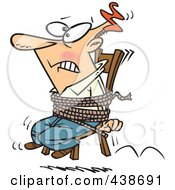 Royalty Free RF Clip Art Illustration Of A Cartoon Businessman Tied To A Chair And Working Overtime by toonaday