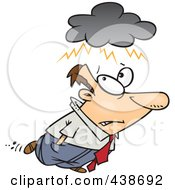 Royalty Free RF Clip Art Illustration Of A Cartoon Man With An Overcast Cloud Above His Head