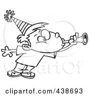 Royalty Free RF Clip Art Illustration Of A Cartoon Black And White Outline Design Of A Party Boy Blowing A Horn