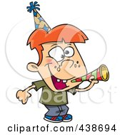 Royalty Free RF Clip Art Illustration Of A Cartoon New Year Boy With A Horn by toonaday