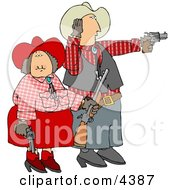 Cowboy And Cowgirl Couple Target Practicing With Pistols And A Rifle