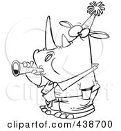 Royalty Free RF Clip Art Illustration Of A Cartoon Black And White Outline Design Of A New Year Rhino Businessman Blowing A Horn