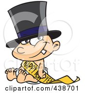 Royalty Free RF Clip Art Illustration Of A Cartoon New Years Baby Sitting