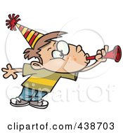 Royalty Free RF Clip Art Illustration Of A Cartoon Party Boy Blowing A Horn