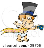Royalty Free RF Clip Art Illustration Of A Cartoon New Years Baby With A Horn