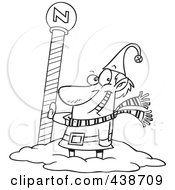 Royalty Free RF Clip Art Illustration Of A Cartoon Black And White Outline Design Of A Christmas Elf By The North Pole