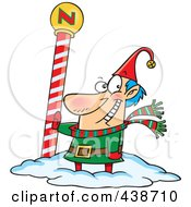 Royalty Free RF Clip Art Illustration Of A Cartoon Christmas Elf By The North Pole
