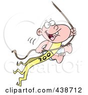 Royalty Free RF Clip Art Illustration Of A Cartoon New Years Baby Swinging On A Rope