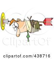 Royalty Free RF Clip Art Illustration Of A Cartoon Businessman Tied To An Arrow In A Target by toonaday