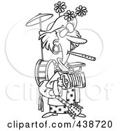 Royalty Free RF Clip Art Illustration Of A Cartoon Black And White Outline Design Of A One Woman Band by toonaday