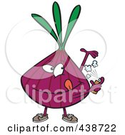 Royalty Free RF Clip Art Illustration Of A Cartoon Purple Onion Spraying On Deodorant by toonaday
