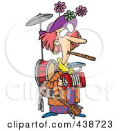 Royalty Free RF Clip Art Illustration Of A Cartoon One Woman Band