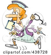 Royalty Free RF Clip Art Illustration Of A Cartoon Multitasking Nurse