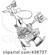 Royalty Free RF Clip Art Illustration Of A Cartoon Black And White Outline Design Of A Nut Vendor Holding Up A Bag by toonaday