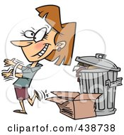 Royalty Free RF Clip Art Illustration Of A Cartoon Woman Tossing Old Trash by toonaday
