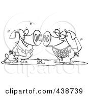 Royalty Free RF Clip Art Illustration Of A Cartoon Black And White Outline Design Of A Pig Wedding Couple In A Puddle Of Mud