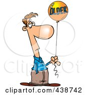 Royalty Free RF Clip Art Illustration Of A Cartoon Man Holding An Older Birthday Balloon