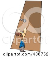 Royalty Free RF Clip Art Illustration Of A Cartoon Tiny Businessman Looking Up At A Door