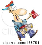 Royalty Free RF Clip Art Illustration Of A Cartoon Nut Vendor Holding Up A Bag