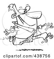 Royalty Free RF Clip Art Illustration Of A Cartoon Black And White Outline Design Of A Businessman Roller Skating In The Office