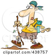 Royalty Free RF Clip Art Illustration Of A Cartoon Hiker Walking Over A Tiny Obstacle by toonaday