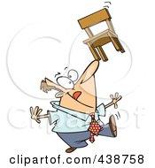 Cartoon Businessman Balancing A Chair On His Nose