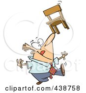 Royalty Free RF Clip Art Illustration Of A Cartoon Businessman Balancing A Chair On His Nose