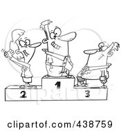 Royalty Free RF Clip Art Illustration Of A Cartoon Black And White Outline Design Of A Podium Of First Second And Third Place Business People