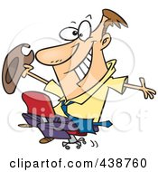 Royalty Free RF Clip Art Illustration Of A Cartoon Businessman Riding A Chair Like A Rodeo Cowboy by toonaday