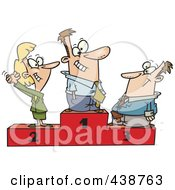 Royalty Free RF Clip Art Illustration Of A Cartoon Podium Of First Second And Third Place Business People