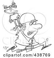 Royalty Free RF Clip Art Illustration Of A Cartoon Black And White Outline Design Of A Businessman Running Through The Office With AHelmet And Chair Above His Head