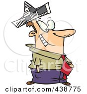 Royalty Free RF Clip Art Illustration Of A Cartoon Businessman Wearing A Newspaper Hat