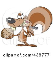 Royalty Free RF Clip Art Illustration Of A Cartoon Squirrel Holding A Nut And Hammer by toonaday