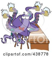 Royalty Free RF Clip Art Illustration Of A Cartoon Octopus Bartender Serving Beer
