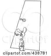 Royalty Free RF Clip Art Illustration Of A Cartoon Black And White Outline Design Of A Tiny Businessman Looking Up At A Door