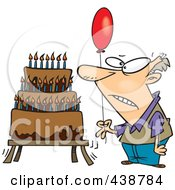 Poster, Art Print Of Cartoon Old Man Holding A Balloon By A Birthday Cake