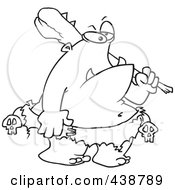 Royalty Free RF Clip Art Illustration Of A Cartoon Black And White Outline Design Of An Ogre Carrying A Club by toonaday